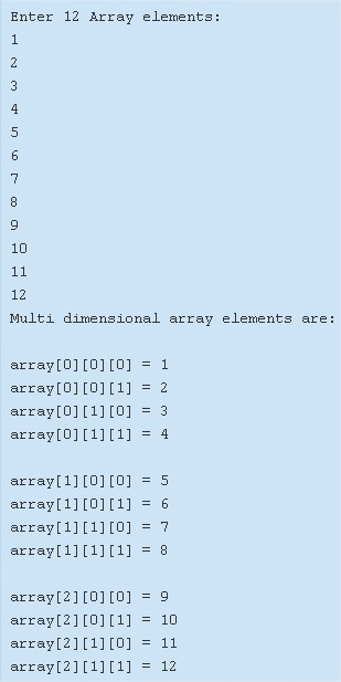 Multi-dimensional array java programming example