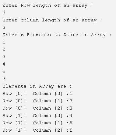 Two-Dimensional Array Java Example