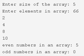 C Program To Count Number Of Even & Odd Elements In Array