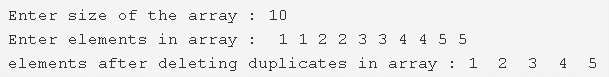 C Program To Delete Duplicate Elements From An Array