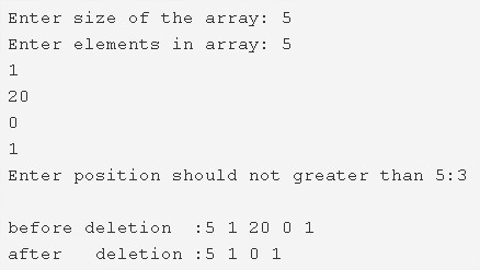 C Program To Delete An Element From An Array At Specified Position
