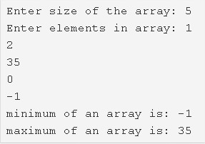 C Program To Find Maximum & Minimum Element In Array