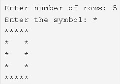 Hollow Square Pattern Program in C