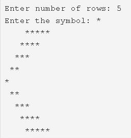 left arrow star pattern program in C
