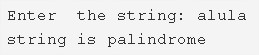 C Program To Check A String Is Palindrome