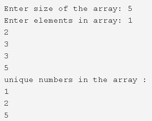 C Program To Print All Unique Elements In The Array