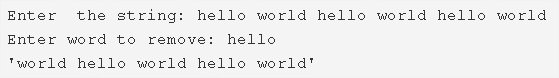 C Program To Remove First Occurrence Of A Word From String