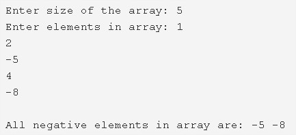 C Program To Print All Negative Elements In An Array