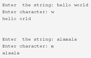 C Program To Remove First Occurrence Of A Character From String