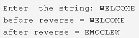 C Program To Find Reverse Of A string