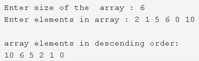 Sort Array Elements In Descending Order
