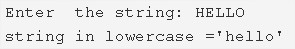 C Program To Convert Uppercase String To Lowercase